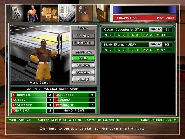 Gra Universal Boxing Manager (Macintosh) 1