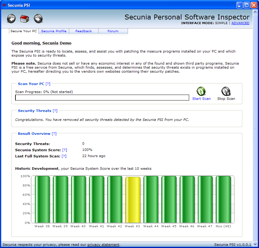 Program Secunia Personal Software Inspector 4