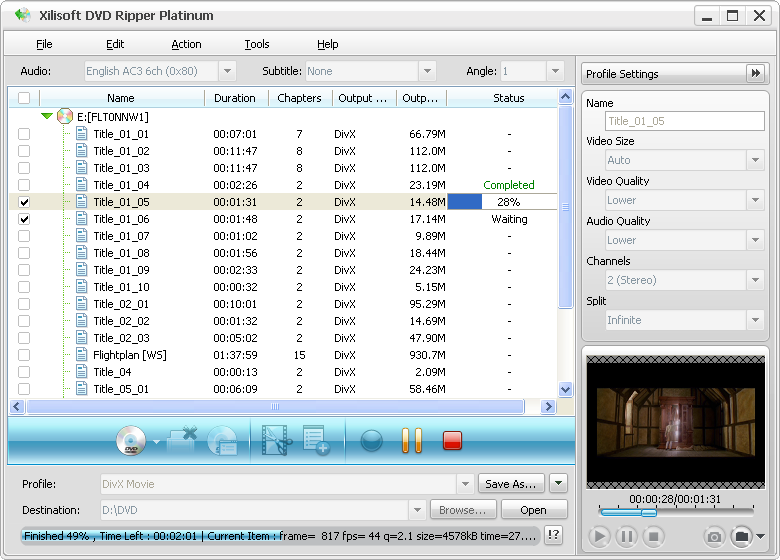 Program Xilisoft DVD Ripper Platinum 1