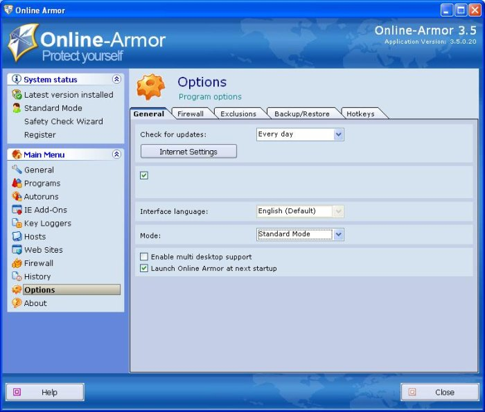 Program Online Armor 1