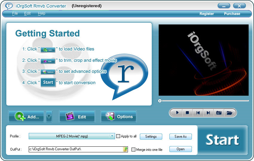 Program iOrgSoft RMVB Converter 1