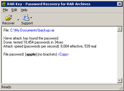 Program Rar Password Recovery Key 1